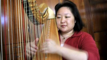 Harpist Verna Lee has turned to other work to makes end meet..