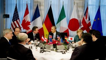 Russia has been expelled from the Group of 8 by world leaders at The Hague.
