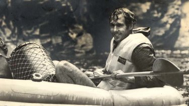 In 1976, one of the first people to raft down the Franklin River.