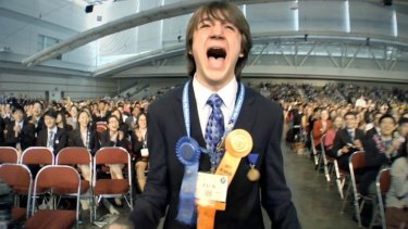 Jack Andraka receiving the prestigious Gordon E. Moore science award in the US in 2012.