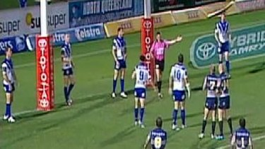 Under scrutiny ... the NRL is investigating the circumstances surrounding the first penalty, awarded to the Cowboys, in last Saturday's match against the Bulldogs.