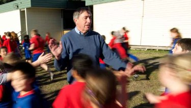 Port Melbourne principal Peter Martin in his crowded playground.