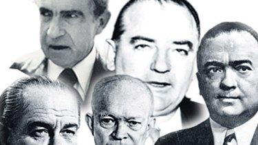 Hunt for gays . . . (from left) Lyndon Johnson, Dwight Eisenhower, J.Edgar Hoover (in the background) Richard Nixon and Joe McCarthy.