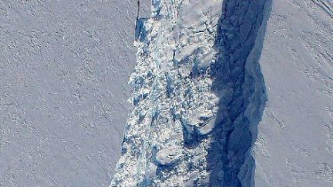 A section of the massive crack in an Antarctic glacier - which measures 250m at its widest point - that has been mapped by NASA.