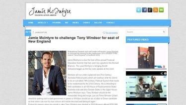 A screen shot of Jamie McIntyre's website.