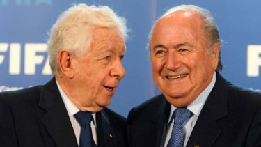 Calm before the storm ... FFA chairman Frank Lowy with FIFA president Sepp Blatter in, dare we say, much friendlier times. But was Australia's bid presentation featuring that cartoon kangaroo, respectful enough?