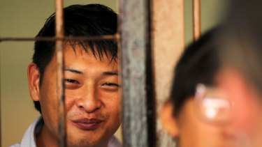 Andrew Chan in a holding cell in 2010.