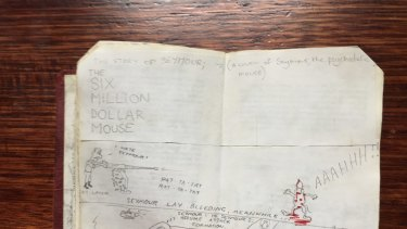 """""""The Six Million Dollar Mouse"""", a cartoon Julian Knight drew while a pupil at Melbourne High in 1985."""