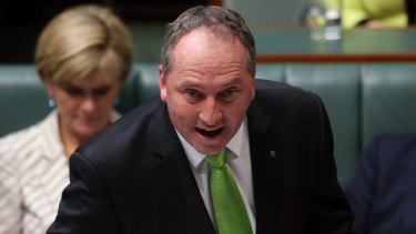 Agriculture Minister Barnaby Joyce during Question Time at Parliament House