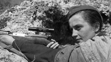Red Army sniper Lyudmila Pavlichenko defends Sevastopol from the Nazis on June 6, 1942.