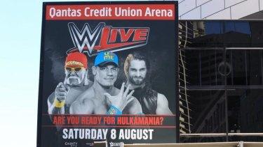Gone: Hulk Hogan still appeared on billboard as late as Tuesday following his sacking last week.