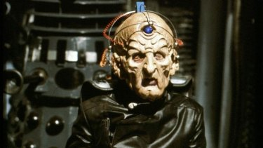 Terry Molloy in full costume as Davros on Doctor Who.