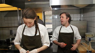 Rene Redzepi at work with one of his chefs.