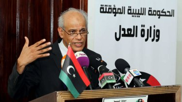 Libyan Justice Minister Salah al-Mirghani addresses a press conference about the capture by American forces of Al-Qaeda operative Abu Anas al-Libi.
