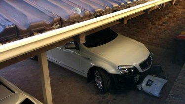The Treasurer's car, which was allegedly involved in a crash.