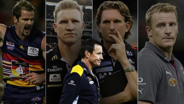 The AFL has inducted (from left) Mark Ricciuto, Nathan Buckley, James Hird and Michael Voss into its hall of fame, but there has been no such honour for Eagles coach John Worsfold. <I>Graphic: Liam Phillips</i>
