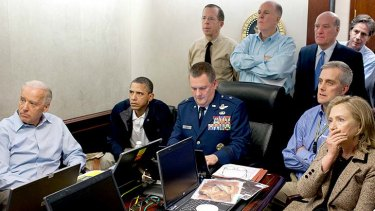Real-time reports: a tense White House situation room as the operation takes place, with President Obama, Vice-President Joe Biden (far left), Secretary of State Hillary Clinton (far right) and national security advisers.