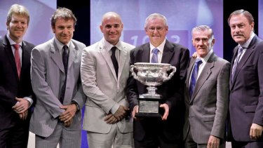 From left, Jim Courier, Mats Wilander, Andre Agassi, Roy Emerson, Ken Rosewall and John Newcombe.
