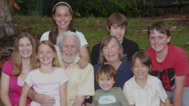 A life dedicated to saving the planet ...  Fred and Joan Bell with their seven grandchildren.