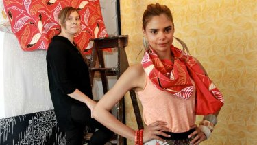 Lucy Simpson, L, has joined forces with Samantha Harris in preparation for the inaugural Australian Indigenous Fashion Week.