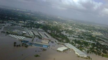 An aerial image taken by Queensland Premier Anna Bligh during surveillance of the damage shows the flooded Rocklea markets in Brisbane.