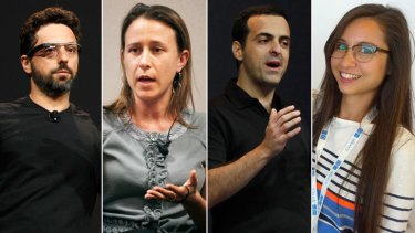 Modern family: Google co-founder Sergey Brin, his estranged wife Anne Wojcicki; Android vice president Hugo Barra; and Google Glass marketing manager Amanda Rosenberg.