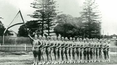 Rare moment ... Women compete in the Silver Reel Carnival between Manly and Bondi, 1931.
