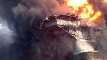 The Deepwater Horizon oil platform leaning on its side before sinking into the Gulf of Mexico on April 22, 2010.
