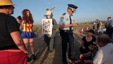 Troubled operations: Anti-CSG protesters in Gloucester last year.