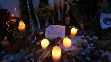The memorial site opposite the Bataclan concert hall.