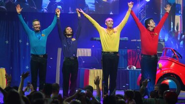 Romp-Bomp-A-Chomp! … the original Wiggles bow out at the Entertainment Centre on Sunday afternoon before their reinvention with three new members.