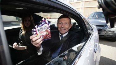 Then Opposition Leader Tony Abbott during his visit to the Cadbury factory in Hobart on August 28 2013. Photo: Alex Ellinghausen