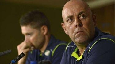 All change: Australia's new cricket coach Darren Lehmann and Michael Clarke.