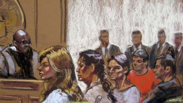 (From left to right) Russian spy suspects, Anna Chapman, Vicky Pelaez, Richard Murphy, Cynthia Murphy and Juan Lazaro, are seen in this courtroom sketch.