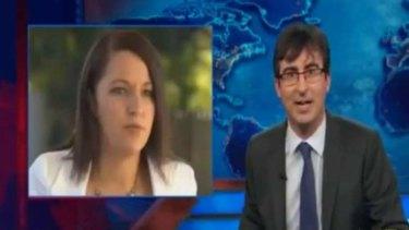 """Does Australia have a Sarah Palin?: John Oliver pokes fun at Stephanie Bannister."