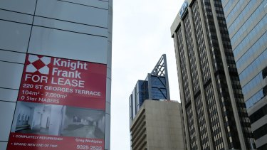 For Lease advertising for commercial office space on St Georges Terrace, Perth.
