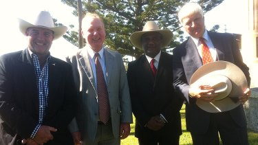 Bob Katter (right) with his senate hopefuls (left to right) James Blundell, dairy farmer Shane Paulger from Kenilworth, and Fraser Coast councillor Les MucKan.