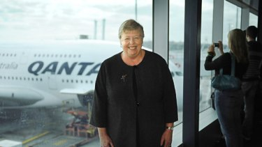 Chief Commissioner Christine Nixon about to board Qantas' new super jumbo for flight to Los Angeles in October.