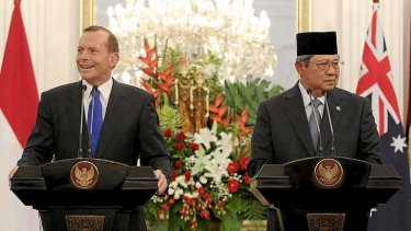 Prime Minister Tony Abbott and Indonesian President Susilo Bambang Yudhoyono address the media during a joint press conference at Istana Merdeka, Jakarta in September.