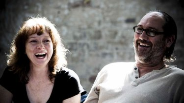 Mandy McEilhinney as Sally and Colin Moody as Gerry in rehearsals for Forget Me Not at Belvoir.