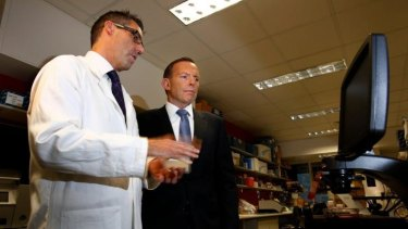 Prime Minister Tony Abbott visits Peter MacCallum Cancer Centre in Melbourne on Tuesday.