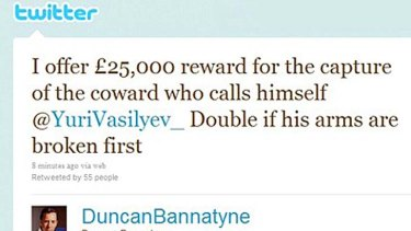 Duncan Bannatyne offered a reward to anyone who would break the arms of a tweeter who threatened his daughter.