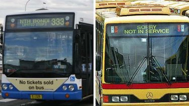 Spot the difference ...  commuters will find it hard to tell a government bus, left, from a  private one if they are all painted sky blue.