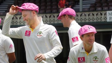 Pretty in pink ... stand-in Australian captain Michael Clarke and injured Ricky Ponting after the team's final training session in a McGrath foundation promotional photo shoot.