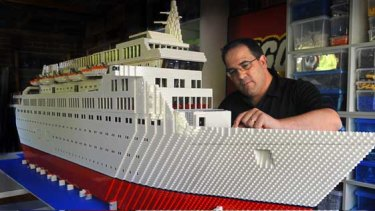 Ryan McNaught with his three-metre-long model of the Love Boat, from the 1970s TV series, which he plans to take to the World Lego Fair in Chicago mid-year.