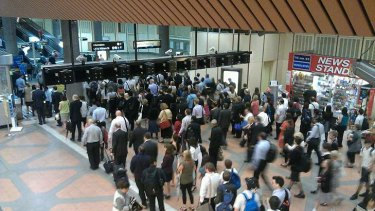 Commuters took to Twitter in frustration at long queues at the Flagstaff station barriers this week.