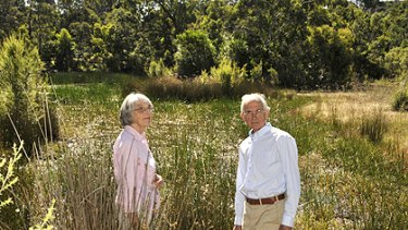 Joyce and Simon Welsh on the heritage bushland formerly owned by Sir Russell Grimwade.