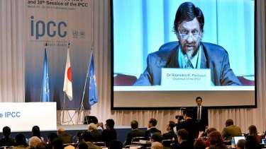IPCC chairman Rajendra Pachauri is projected onto a screen at the opening session of the 10th plenary of the IPCC Working Group II in Yokohama.