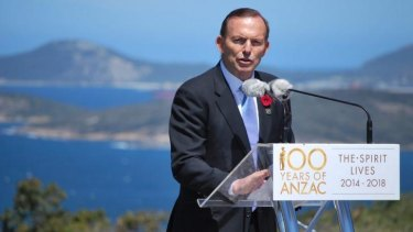 Prime Minister Tony Abbott at the official opening of the National Anzac Centre in Albany.