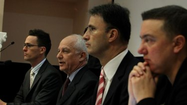 Ray Finkelstein (second from left) with other members of the panel of the independent inquiry into media and media regulation, from left Chris Young, Professor Matthew Ricketson and Kristen Walker.